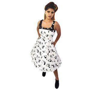 Eva Rose Contrast Kitties Dress in Black & White